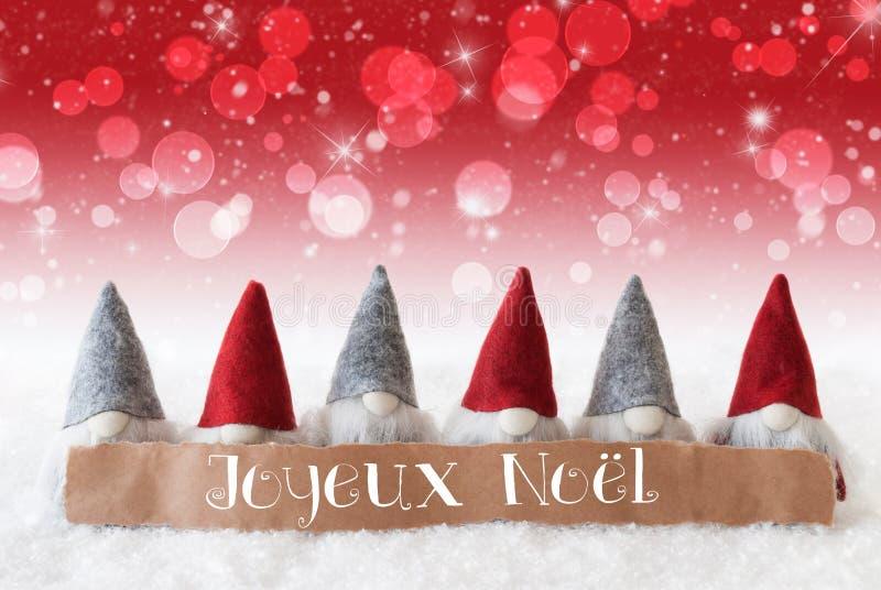 Gnomos, fundo vermelho, Bokeh, estrelas, Joyeux Noel Means Merry Christmas imagem de stock royalty free