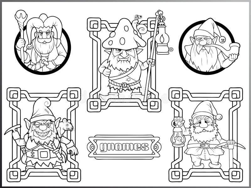 Gnomos, grupo de desenhos do vetor ilustração stock