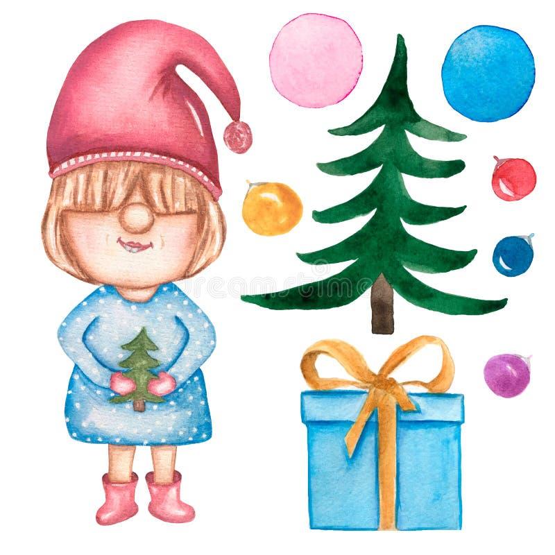 Gnomsamling för jul och för nytt år Ställ in av julsymboler, vattenfärgillustrationen som isoleras på vit bakgrund Gullig gnom, royaltyfri illustrationer