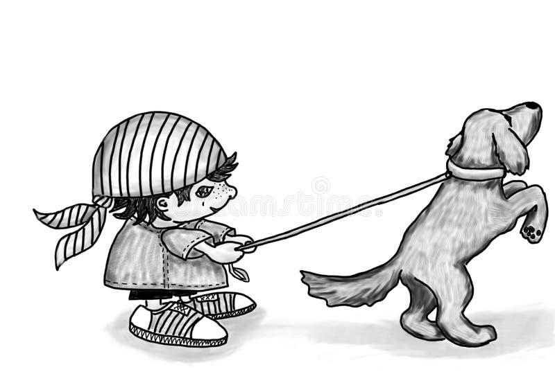 Gnoom en hond royalty-vrije stock foto