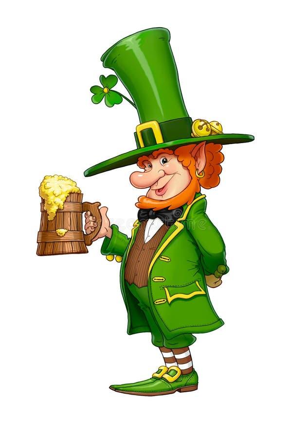 Gnoomkabouter met mok bier Sprookje Iers karakter royalty-vrije illustratie