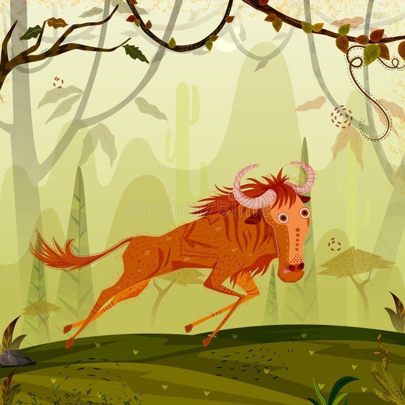 Gnou d'animal sauvage à l'arrière-plan de forêt de jungle illustration libre de droits