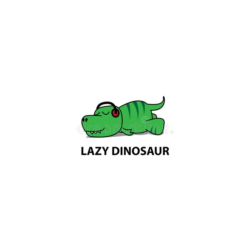 Gnuśna dinosaur ikona, Śmieszny t-rex dosypianie z hełmofonami ilustracji
