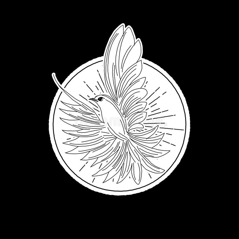 Gołąbka logo ptasia ilustracja, natura nurkował ptasiego logo, zwierzę ratownicza podstawa, ilustracji