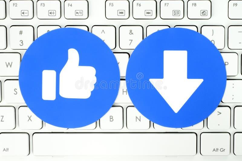 Goût de Facebook et nouveau bouton de Downvote de clavier compréhensif de réactions d'Emoji illustration libre de droits