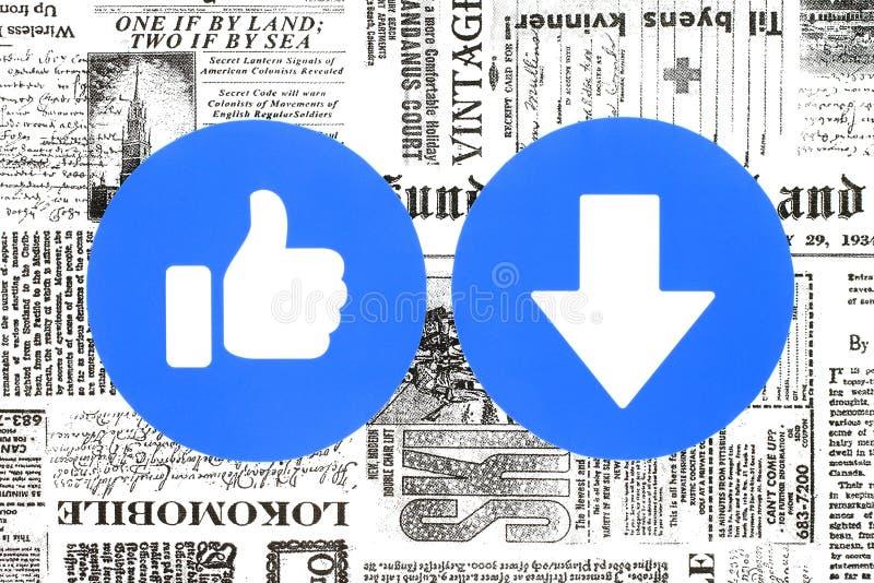 Goût de Facebook et nouveau bouton de Downvote des réactions compréhensives d'Emoji mises sur le journal illustration stock