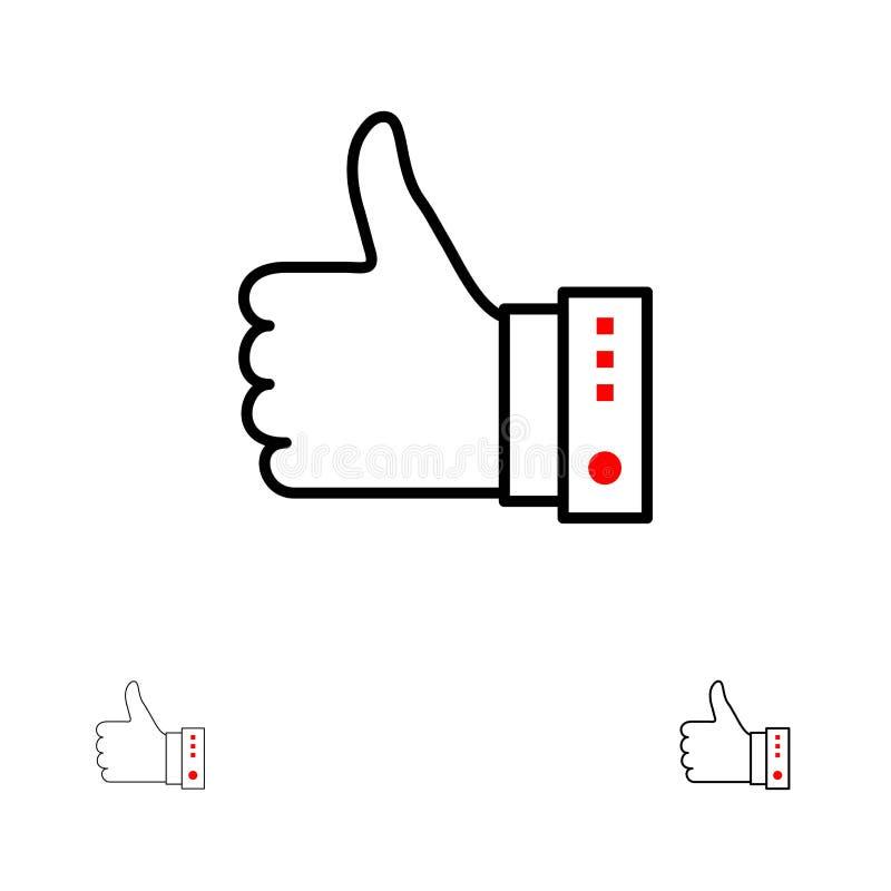 Goût, doigt, geste, main, pouces, oui audacieux et ligne noire mince ensemble d'icône illustration de vecteur