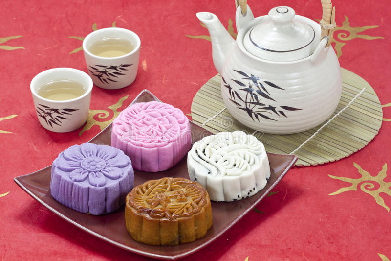 Goût quatre de mooncake photographie stock