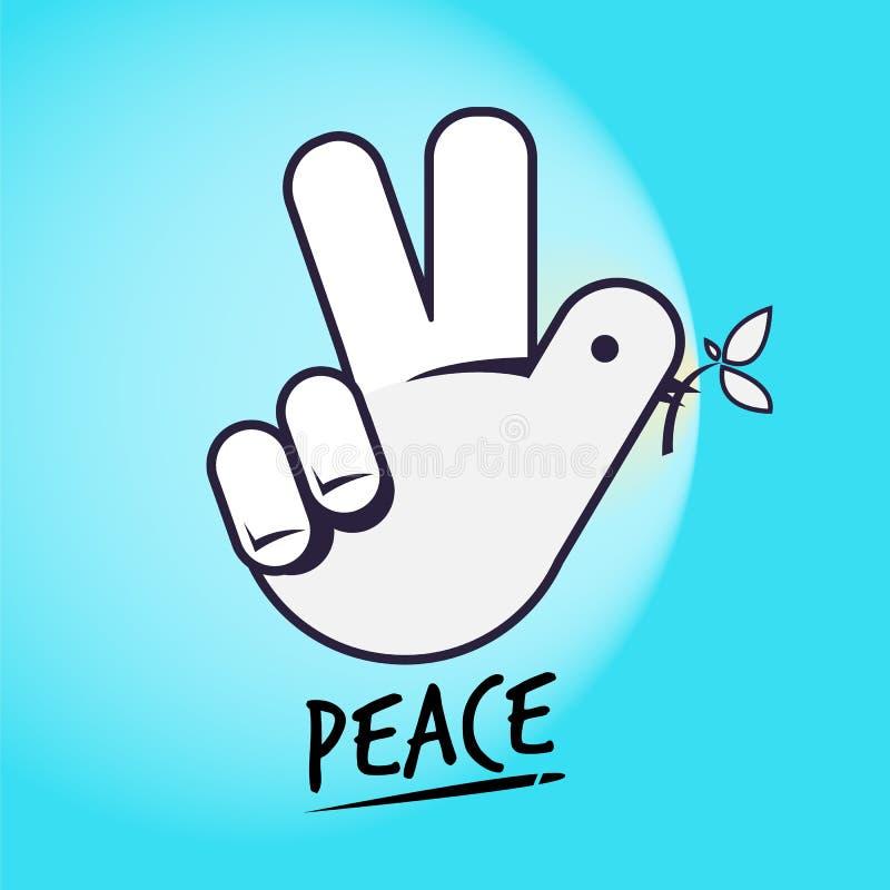 Gołąbka i znak Ręka jak gołąbka Pokoju pojęcie kreatywnie ręka znak ilustracji
