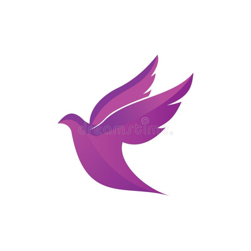 Gołąbka loga projekta wektorowy symbol pokój i ludzkość ilustracja wektor
