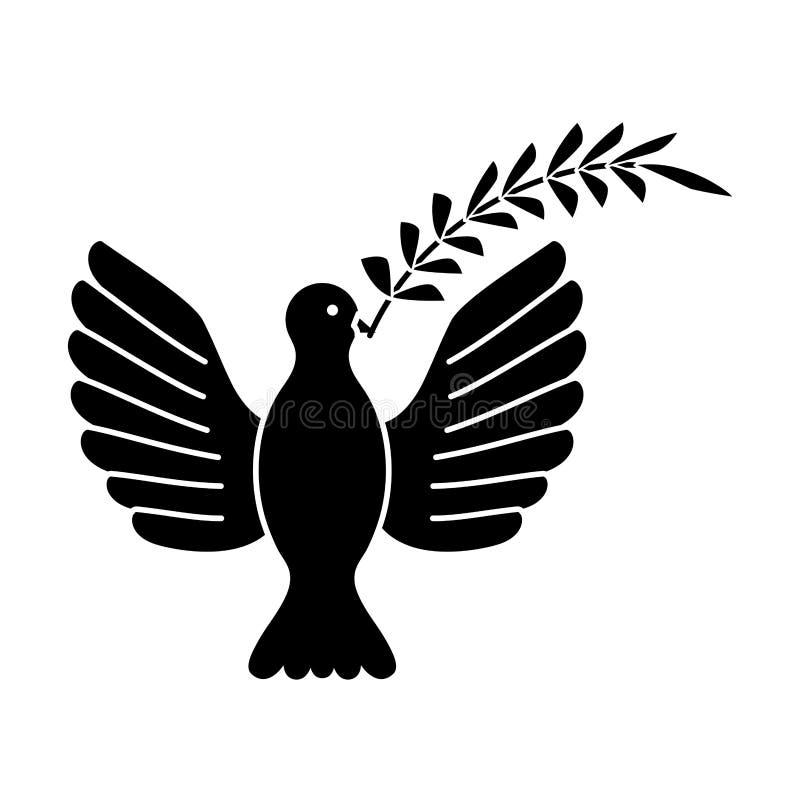 Gołąbka niesie gałęziastą ikonę royalty ilustracja