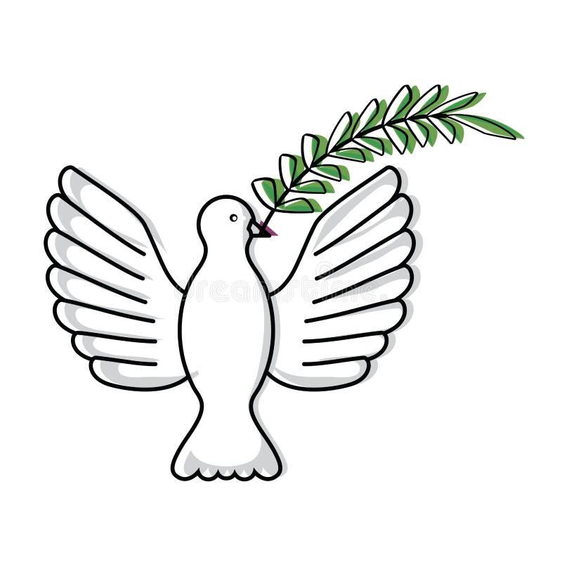Gołąbka niesie gałęziastą ikonę ilustracji