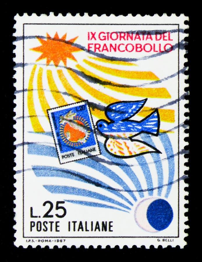 Gołąbka niesie znaczek, słońce i księżyc, Stemplowy dnia seria około 1967, ilustracja wektor