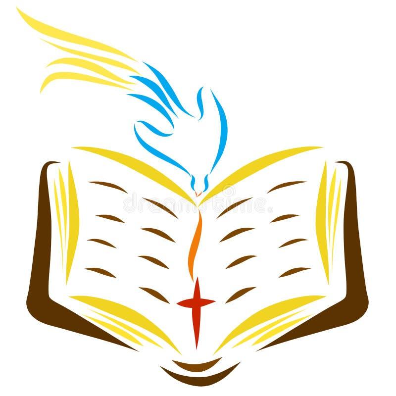 Gołąbka pochodzi od nieba otwarta biblia z krzyżem royalty ilustracja