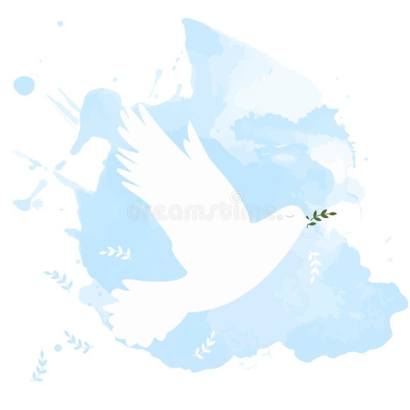 Gołąbka pokój z gałąź na niebieskim niebie ilustracja wektor