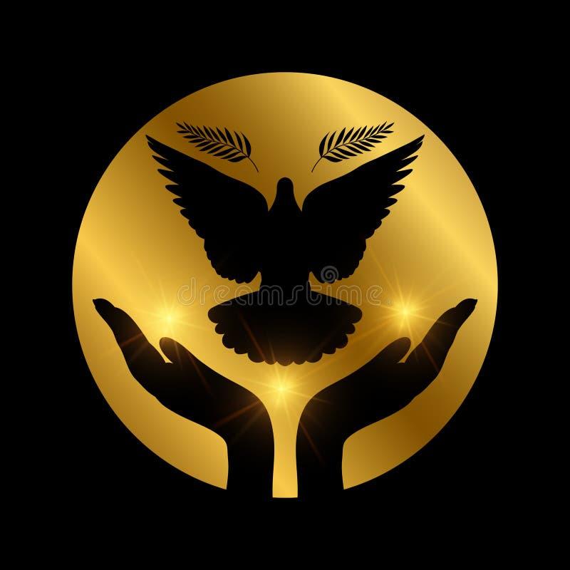 Gołąbka pokoju latania ręki Miłości, wolności i religii wiara, ilustracji