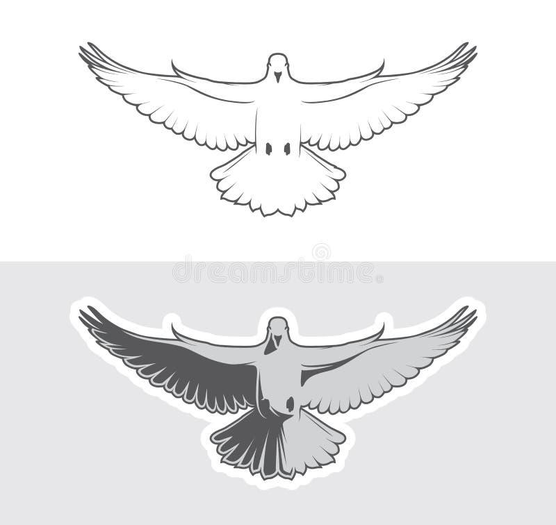 Gołąbka ptaków logo dla pokoju pojęcia ilustracji