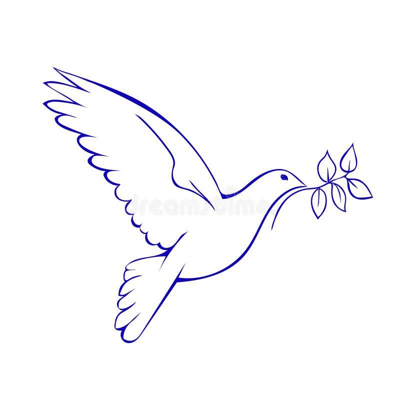 Gołąbka z gałąź Symbol pokój royalty ilustracja