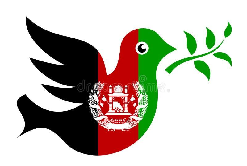 Gołąbka z gałązką oliwną w kolorach Afganistan jako metafora pokój i ceasefire royalty ilustracja
