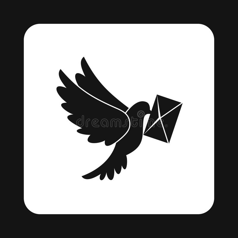 Gołąbka z listową ikoną, prosty styl royalty ilustracja
