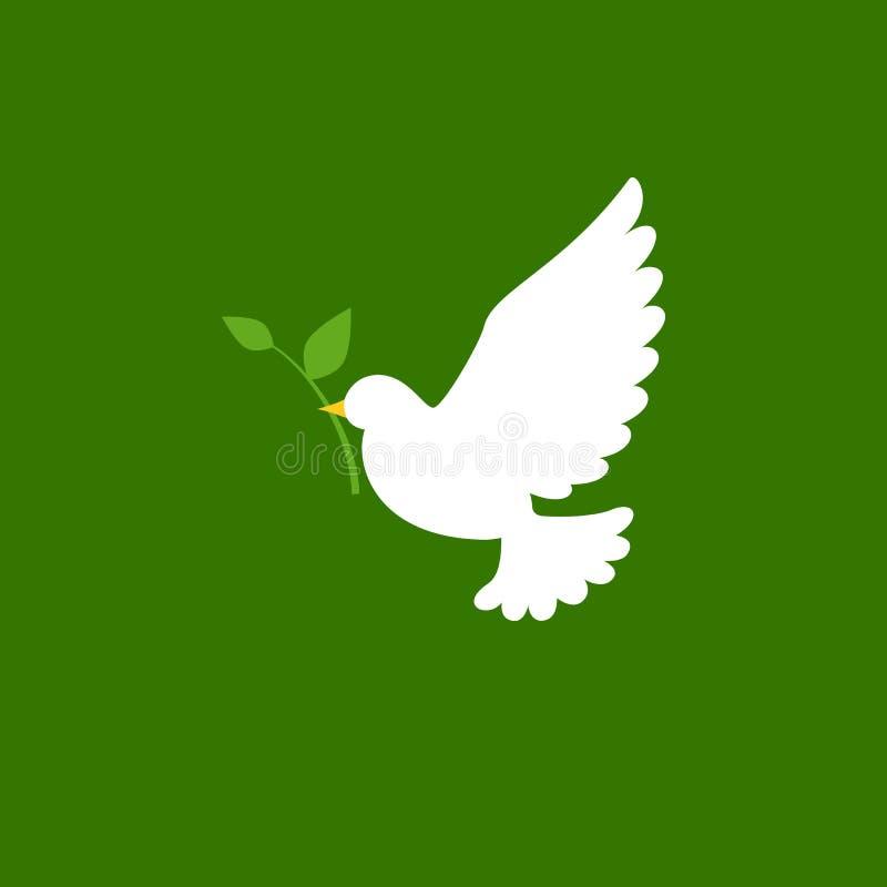 Gołąbki i gałązki oliwnej ikona ilustracji