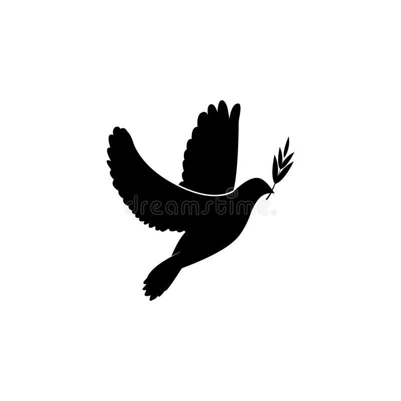 Gołąbki ikona z gałązką oliwną royalty ilustracja