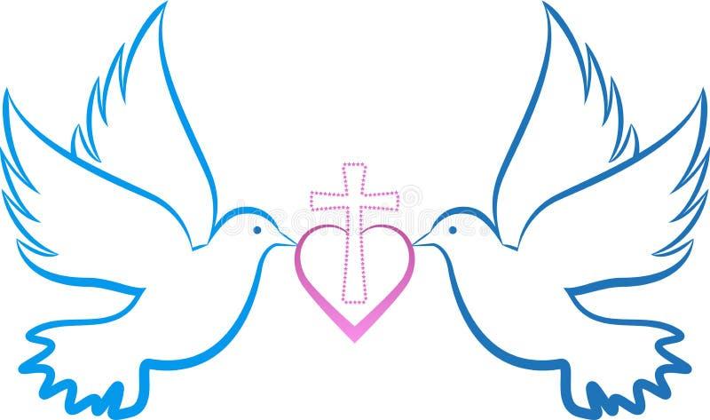 Gołąbki miłości krzyż royalty ilustracja