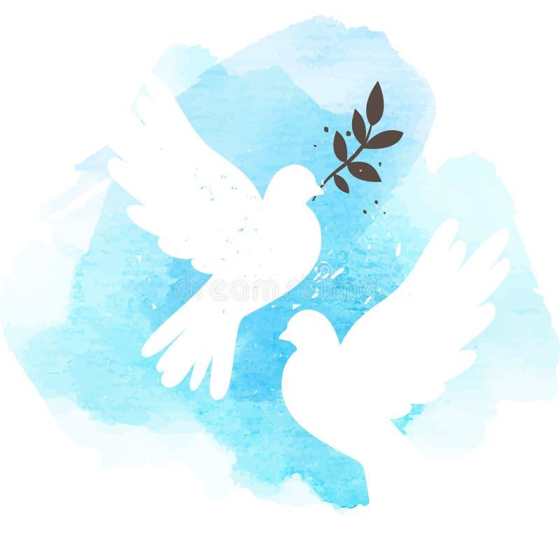 Gołąbki na błękitnym tle ilustracja wektor