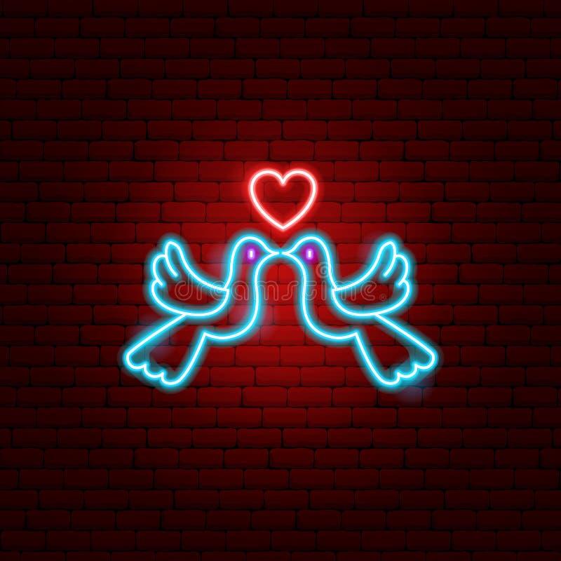 Gołąbki pary Neonowy znak ilustracja wektor