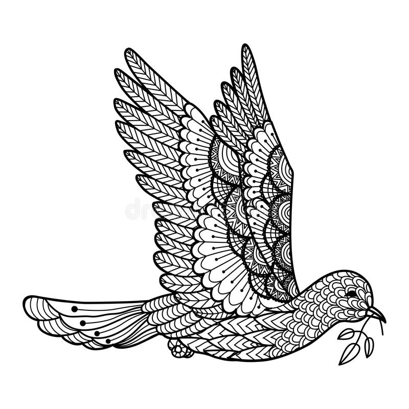 Gołąbki przewożenie opuszcza kreskowej sztuki projekt dla loga, znak, plakat, koszulki grafika, kolorystyki książka dla dorosłego ilustracja wektor
