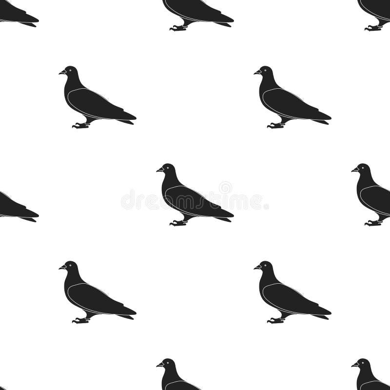 Gołębia ikona w czerń stylu odizolowywającym na białym tle Ptaka wzoru zapasu wektoru ilustracja royalty ilustracja