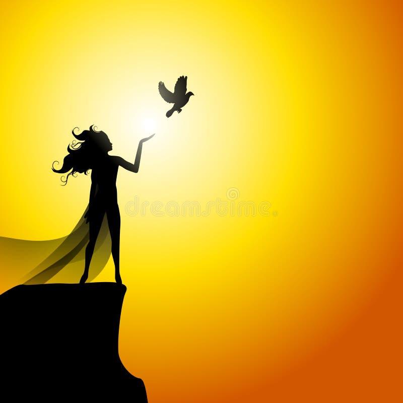 gołębie i wolna kobieta royalty ilustracja