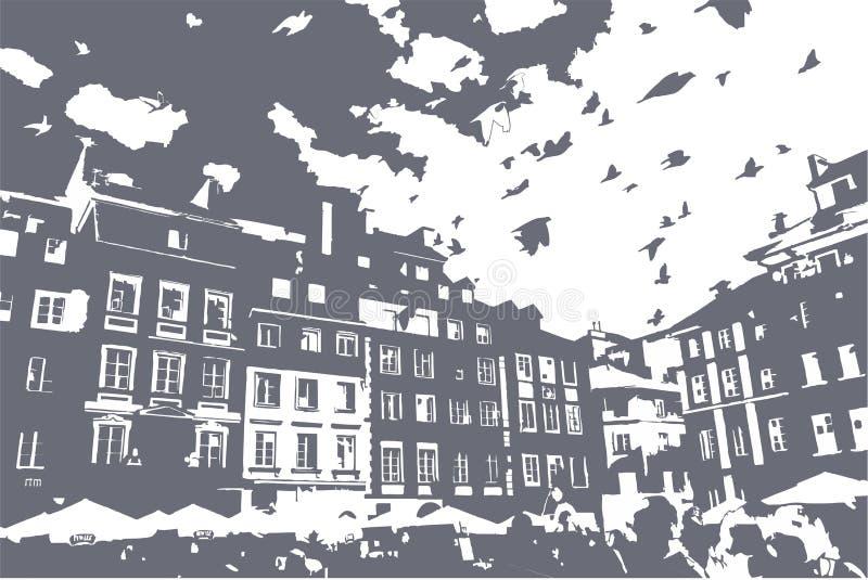 Gołębie wznoszą się nad Warszawa Market Place Starym Grodzkim połyskiem: Rynek Starego Miasto ilustracji