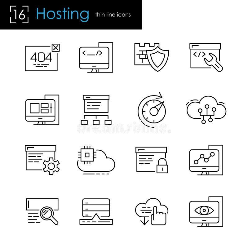 Gościć i Internetowy serwer ikony set ilustracja wektor