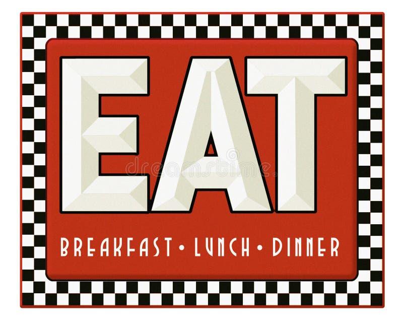 Gościa restauracji Szyldowy Retro Je Śniadaniowego lunchu gościa restauracji ilustracja wektor
