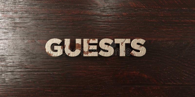 Goście - grungy drewniany nagłówek na klonie - 3D odpłacający się królewskość bezpłatny akcyjny wizerunek ilustracji
