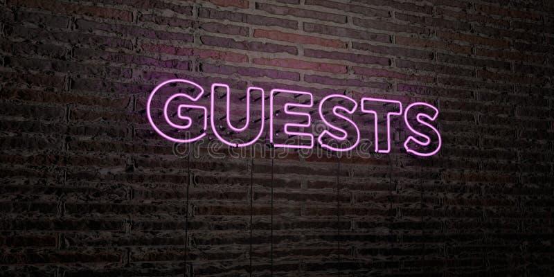 GOŚCIE - Realistyczny Neonowy znak na ściana z cegieł tle - 3D odpłacający się królewskość bezpłatny akcyjny wizerunek ilustracji