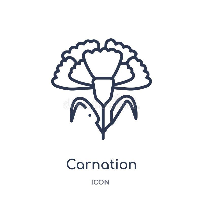 Goździk ikona od natura konturu kolekcji Cienieje kreskową goździk ikonę odizolowywającą na białym tle ilustracji