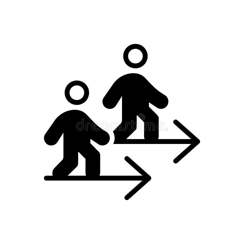 Go、步行和叠代的黑坚实象 向量例证