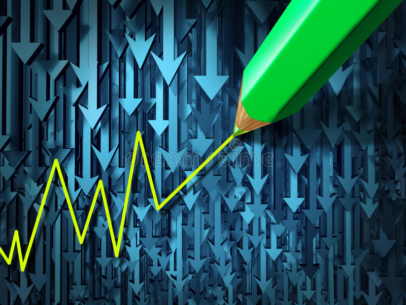 Go Against The Current. And contrarian investing business concept as a group of three dimensional arrows going in a down direction contrasted by a pencil crayon vector illustration