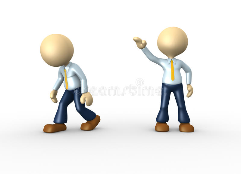 Go ahead. 3d people - man, person kicked out. Go ahead royalty free illustration
