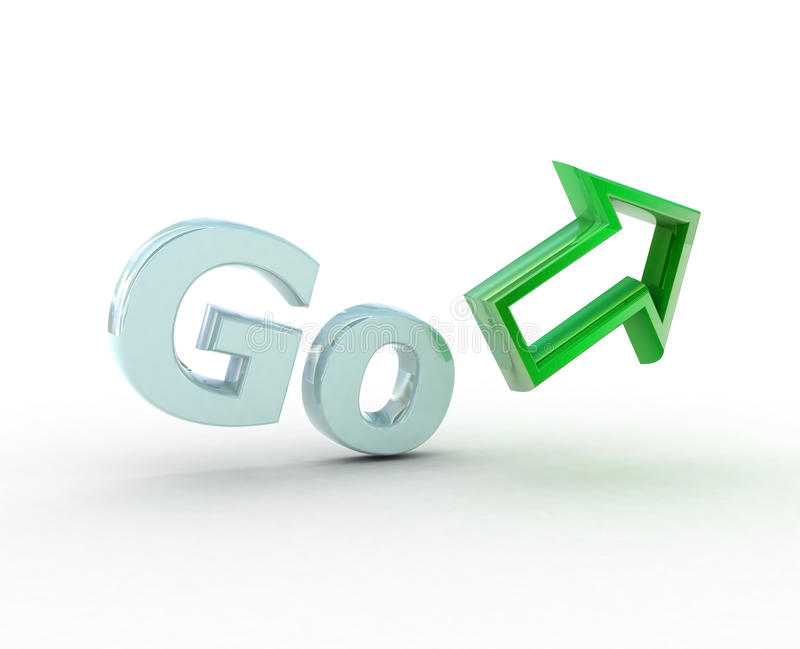 Go! and arrow. royalty free stock image