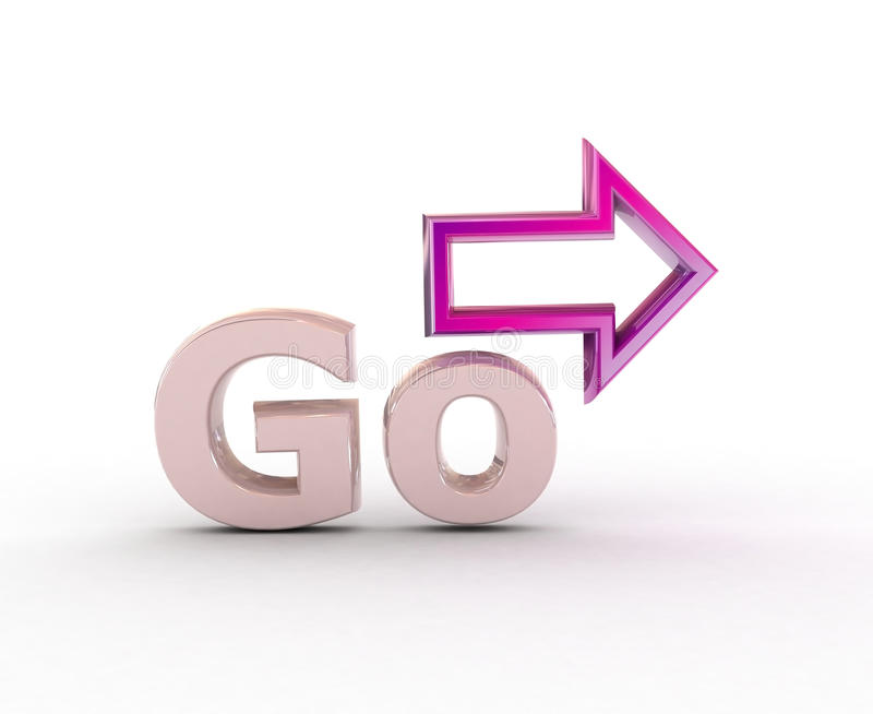 Go! and arrow. stock images