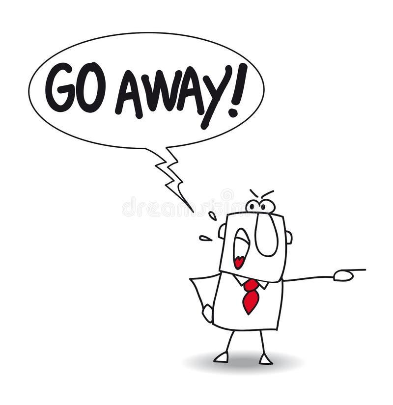 Go away. Joe is upset. he says Go away stock illustration