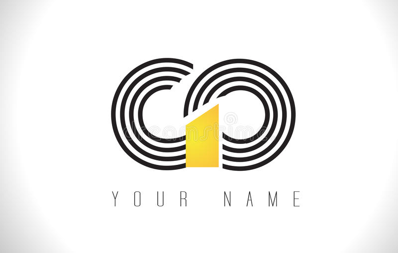 GO Black Lines Letter Logo. Creative Line Letters Vector Templat. GO Black Lines Letter Logo. Creative Line Letters Design Vector Template vector illustration