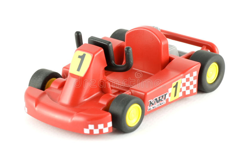 Go-cart racing car toy. It is an isolated go cart racing car toy on white background stock photography