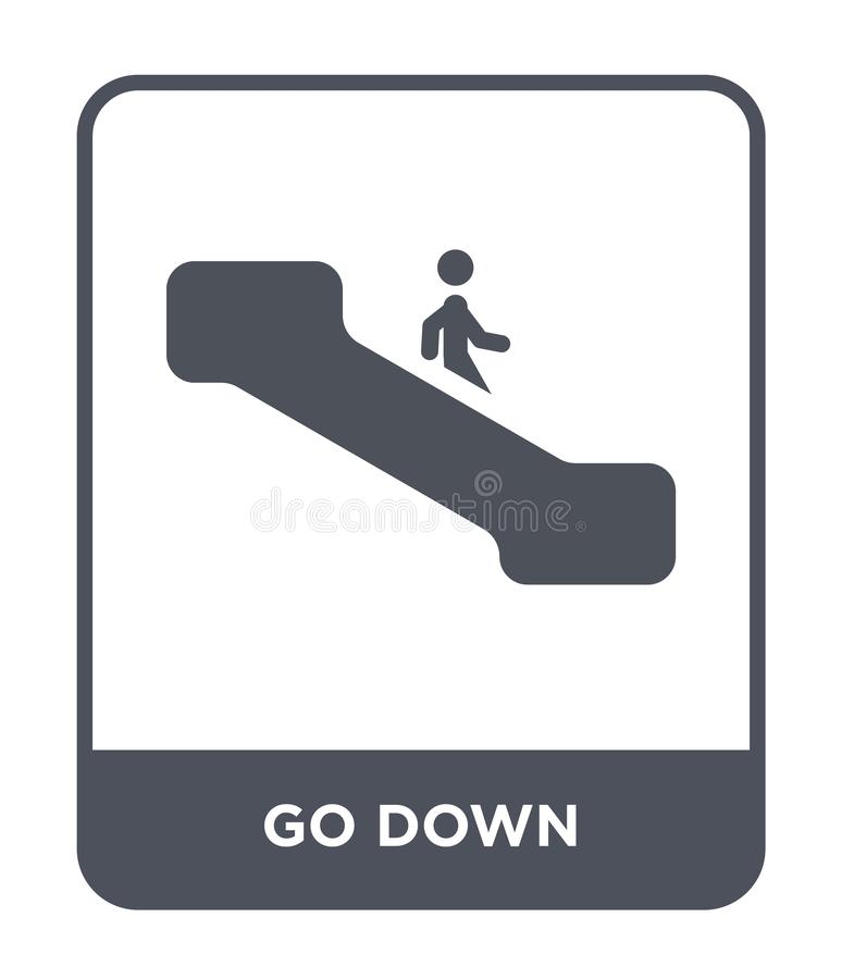go down icon in trendy design style. go down icon isolated on white background. go down vector icon simple and modern flat symbol royalty free illustration