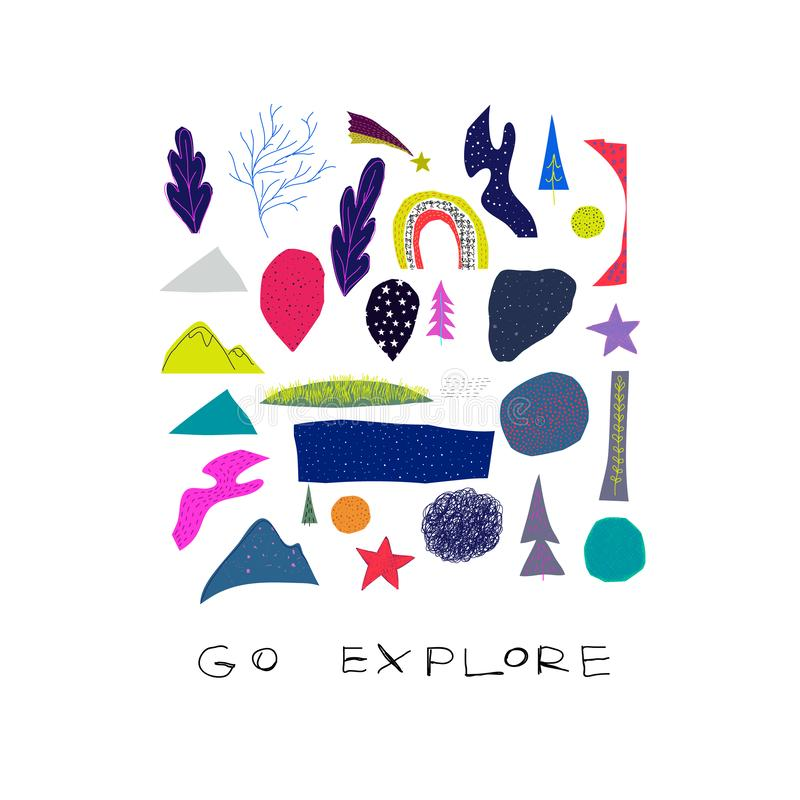 Go explore cutout collage nature Space Star card. Go explore card Universe Open Space travel Planet Star moon astronaut cosmos astronomy inspiration graphic royalty free illustration