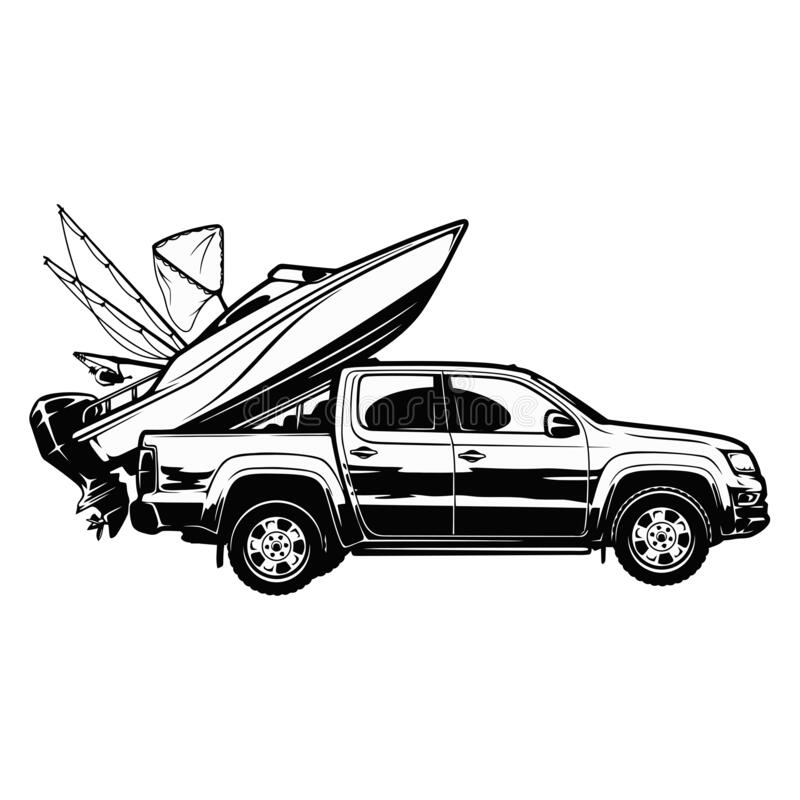 Free Go Fishing - Boat And Suv Car - Template For Fishing Design Royalty Free Stock Photography - 199505397