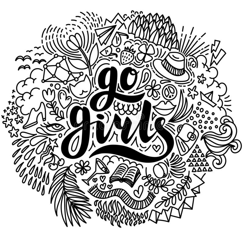 Go girls. Hand drawn lettering and summer elements on white background. Design element for coloring page, poster, card vector illustration